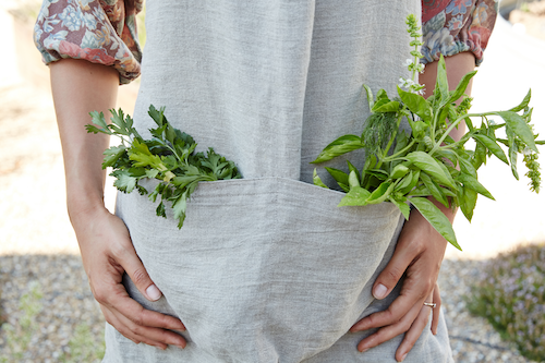 Shot of woman's torso, hands and forearms. Wearing linen dress with pockets filled with different fresh herbs