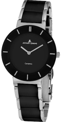 Montre JACQUES LEMANS Femme avec Boîtier Rond 38 mm et Bracelet Céramique Noire