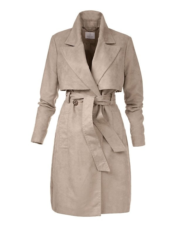 Trenchcoat in Velourslederoptik
