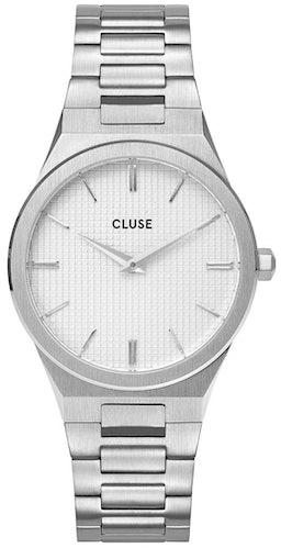 Cette montre CLUSE se compose d'un boîtier Rond de 33 mm et d'un bracelet en Acier Gris
