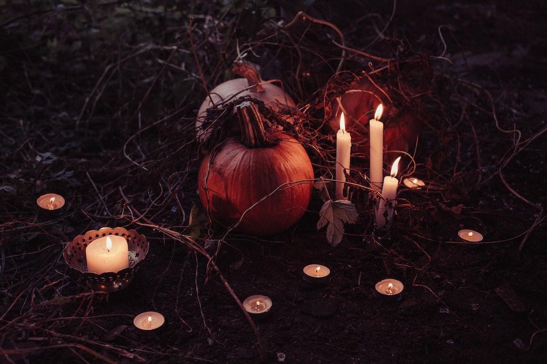 candle, kerze, kerzen, kürbis, pumpkin, halloween, dark, dunkel, teelichter