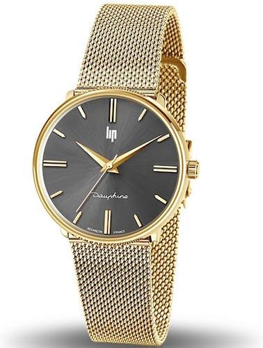 Cette montre LIP se compose d'un Boîtier Rond de 34 mm et d'un bracelet en Métal Doré