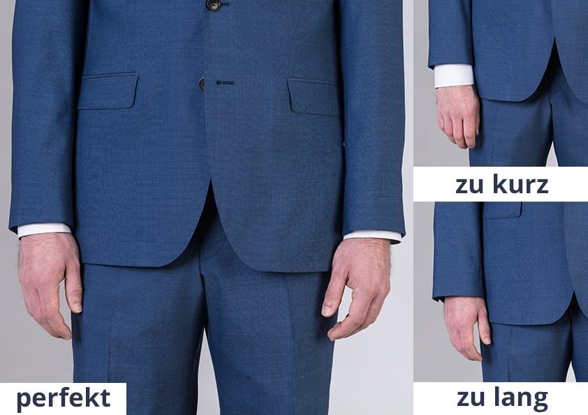Mann im Anzug – Montage verschiedener Ärmellängen