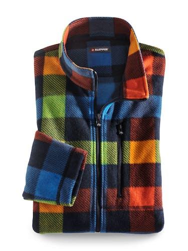 Fleece-Jacke mit buntem Karo für Herren