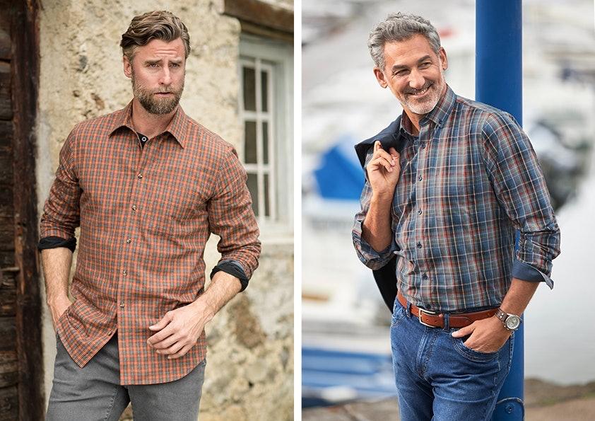 Zwei Bilder mit jeweils einem Mann in Hemd mit hochgekrempelten Ärmeln.
