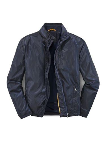 Dunkelblaue Jacke mit Reißverschluss und hohem Kragen.