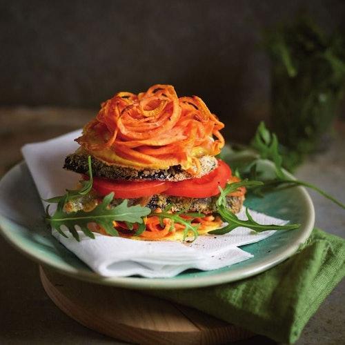 Rezept: Auberginen-Burger mit Süßkartoffel-Bun