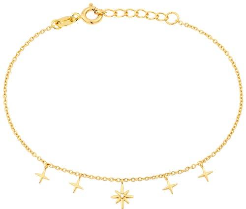 Ce Bracelet SOLIS est en Argent 925/1000 Jaune et Oxyde Blanc en forme d'Etoiles