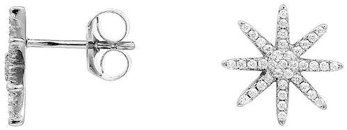 Ces Boucles d'oreilles CLEOR sont en Argent 925/1000 et Oxyde Blanc en forme d'Etoile