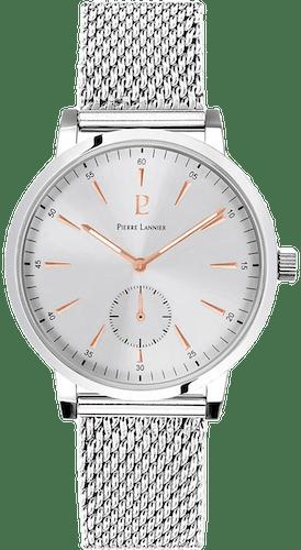 Cette montre PIERRE LANNIER se compose d'un Boîtier Rond de 40 mm et d'un bracelet en Acier Gris