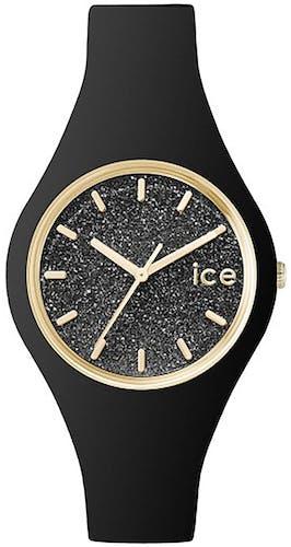 Montre ICE-WATCH GLITTER Femme avec Boîtier Rond 38 mm et Bracelet en Silicone Noir