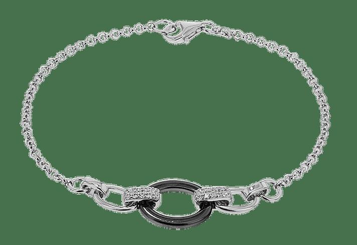 Bracelet CLEOR Céramique Noire, Oxyde Blanc  -