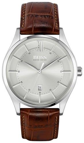 Cette montre HUGO BOSS BLACK se compose d'un boîtier Rond de 42 mm et d'un bracelet en Cuir Véritable de Veau Marron