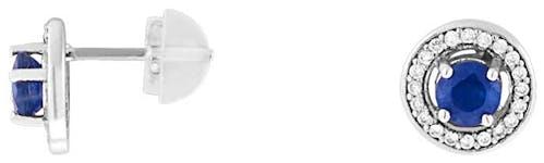 Ces Boucles d'oreilles CLEOR sont en Or 750/1000 Blanc et Saphir Bleu