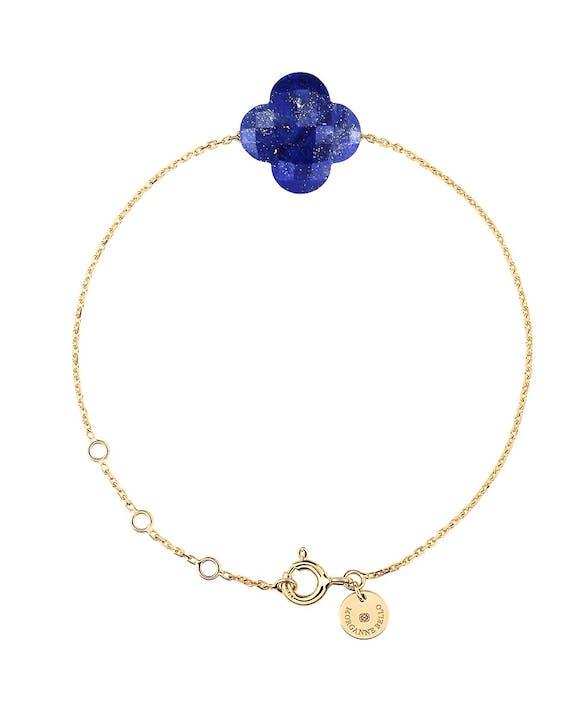 Bracelet en Or Jaune Lapis Lazuli TrefleMatière principale : Or 750/1000