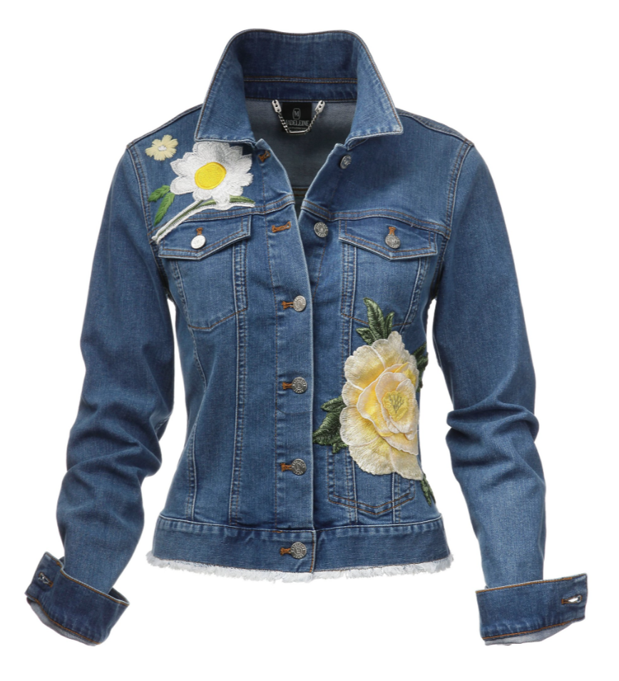 Jeansjacke mit Stickerei und Blütenapplikation