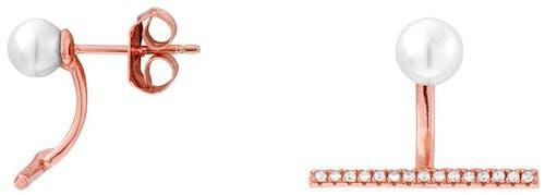 Ces Boucles d'oreilles PERLE DE NUIT sont en Argent 925/1000 Rose et Perle Blanche