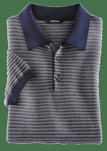 Blau-graues Polo mit feinem Streifenmuster.