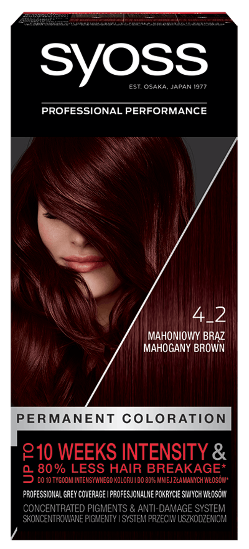 Trajna barva za lase Syoss Mahagoni rjava 4-2