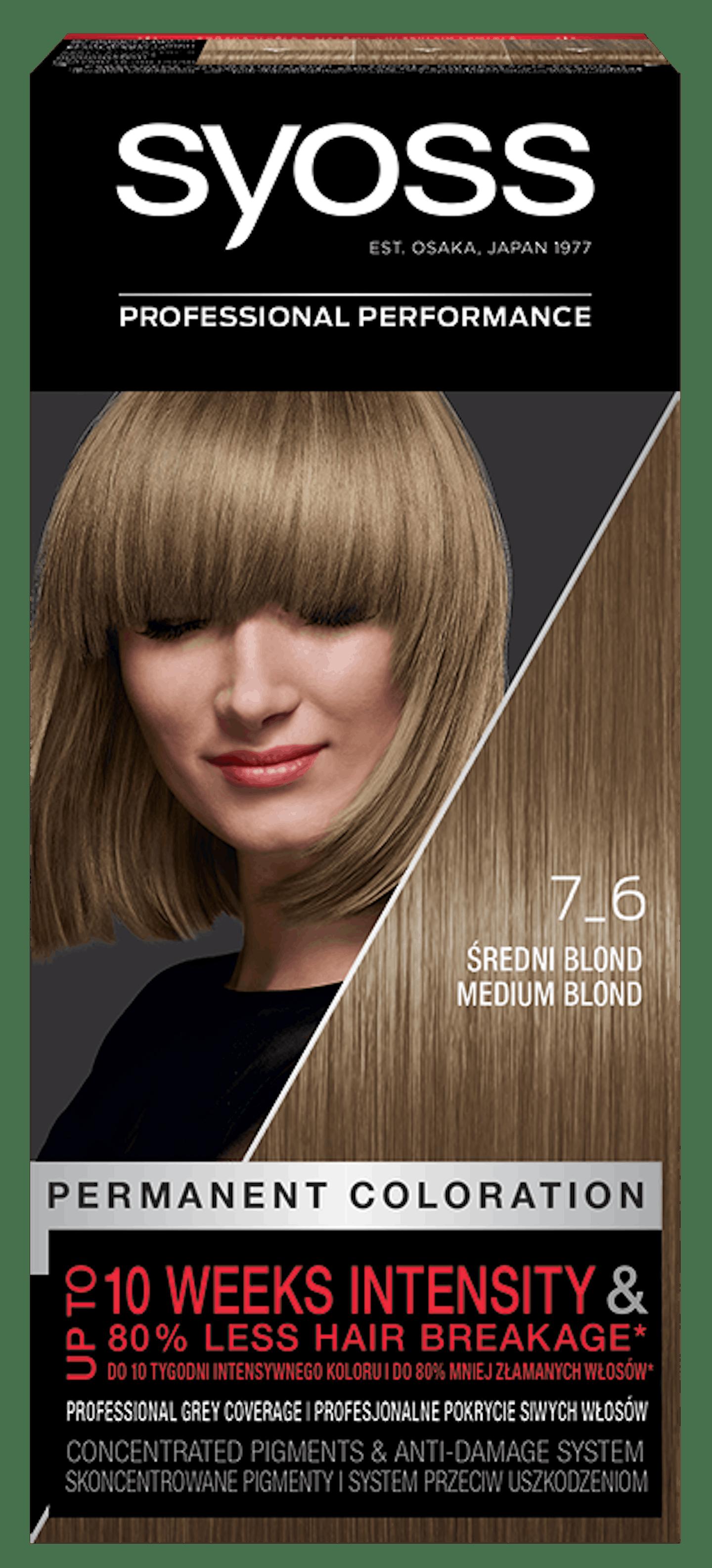 Vopsea de păr permanentă Syoss 7-6 Blond Mediu