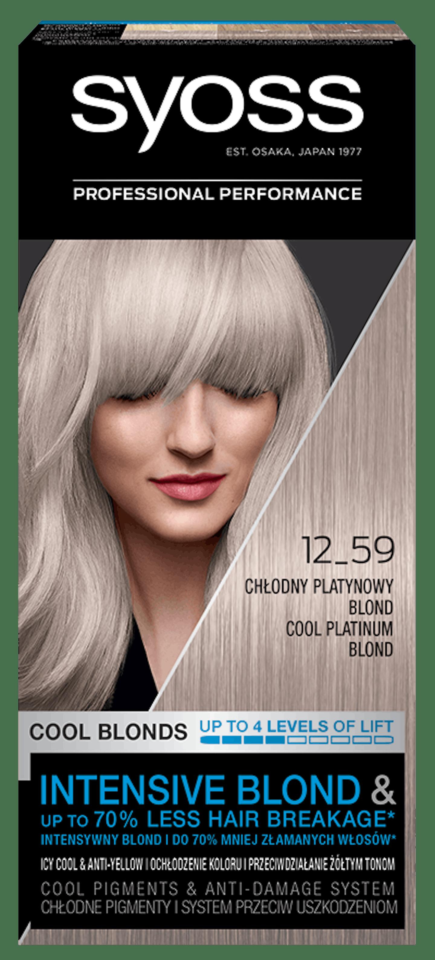 Vopsea de păr permanentă Syoss 12-59 Platinium Blond Rece