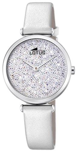 Cette montre LOTUS se compose d'un boîtier Rond de 29 mm et d'un bracelet en Cuir Blanc