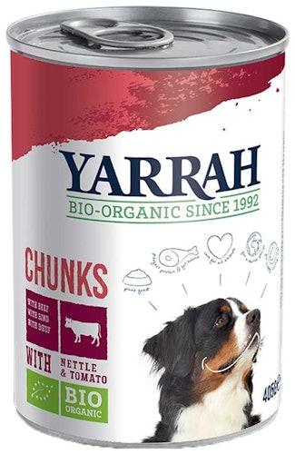 Yarrah - Nassfutter - Bio Bröckchen mit Rind, Brennnessel & Tomate