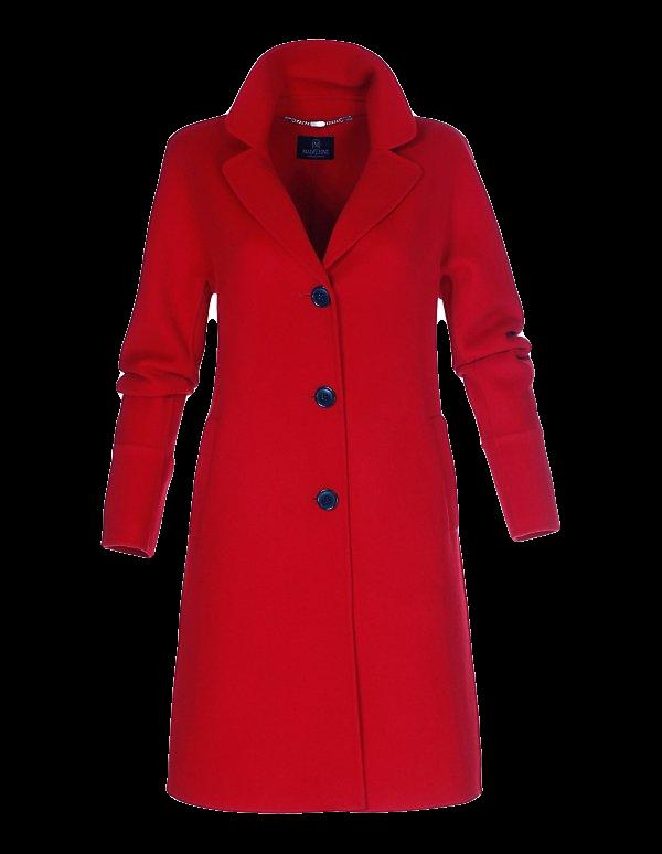 Doubleface-Mantel aus Wolle in modischer A-Linie
