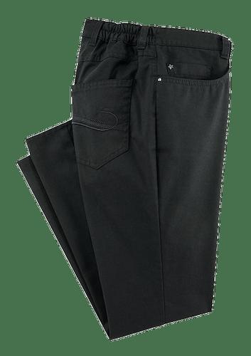 Marinefarbene Hose mit kleinem Metallstern an der Münztasche.