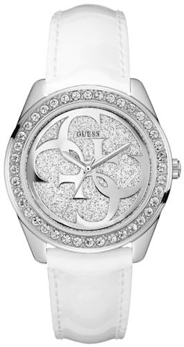 Montre GUESS Femme Boîtier Rond Bracelet Cuir Blanc