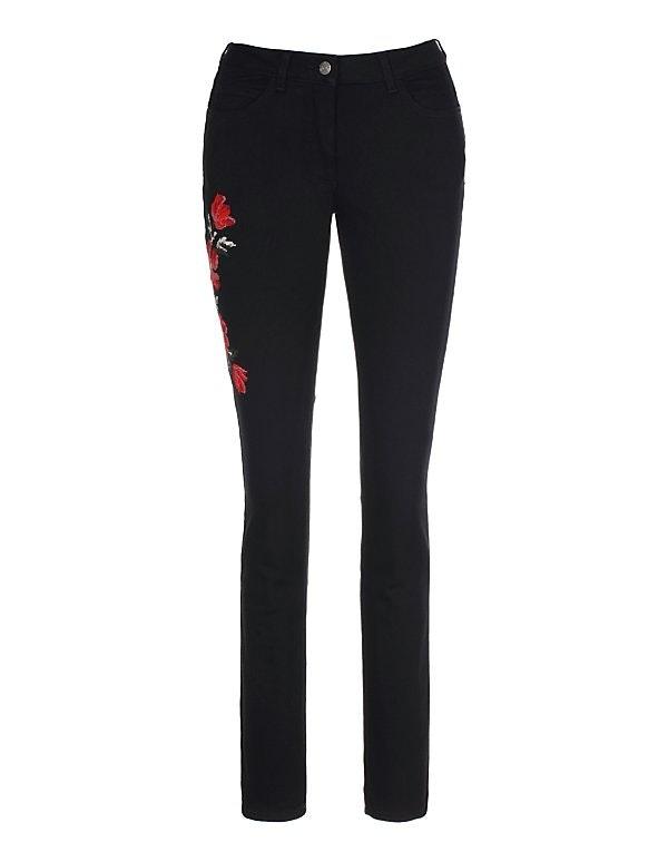 Schmale Stretch-Jeans mit Blumen-Stickerei