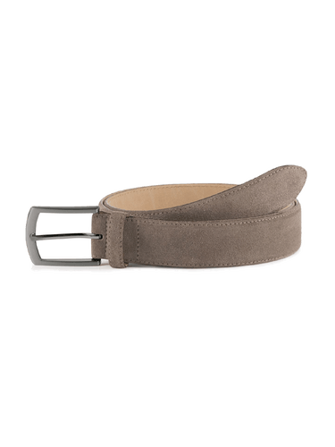 Ledergürtel in Beige mit silberner Schließe.