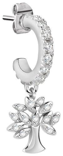 Cette Boucle d'oreille LA PETITE STORY est en Laiton Blanc en forme d'Arbre de Vie