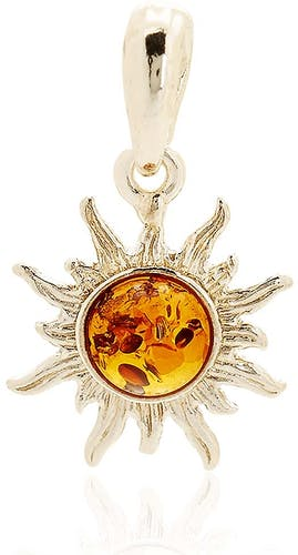 Ce Pendentif CLEOR est en Argent 925/1000 et Ambre Orange en forme de Soleil