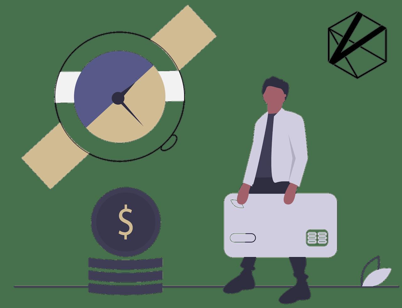 Uhr und Bezahlmöglichkeiten