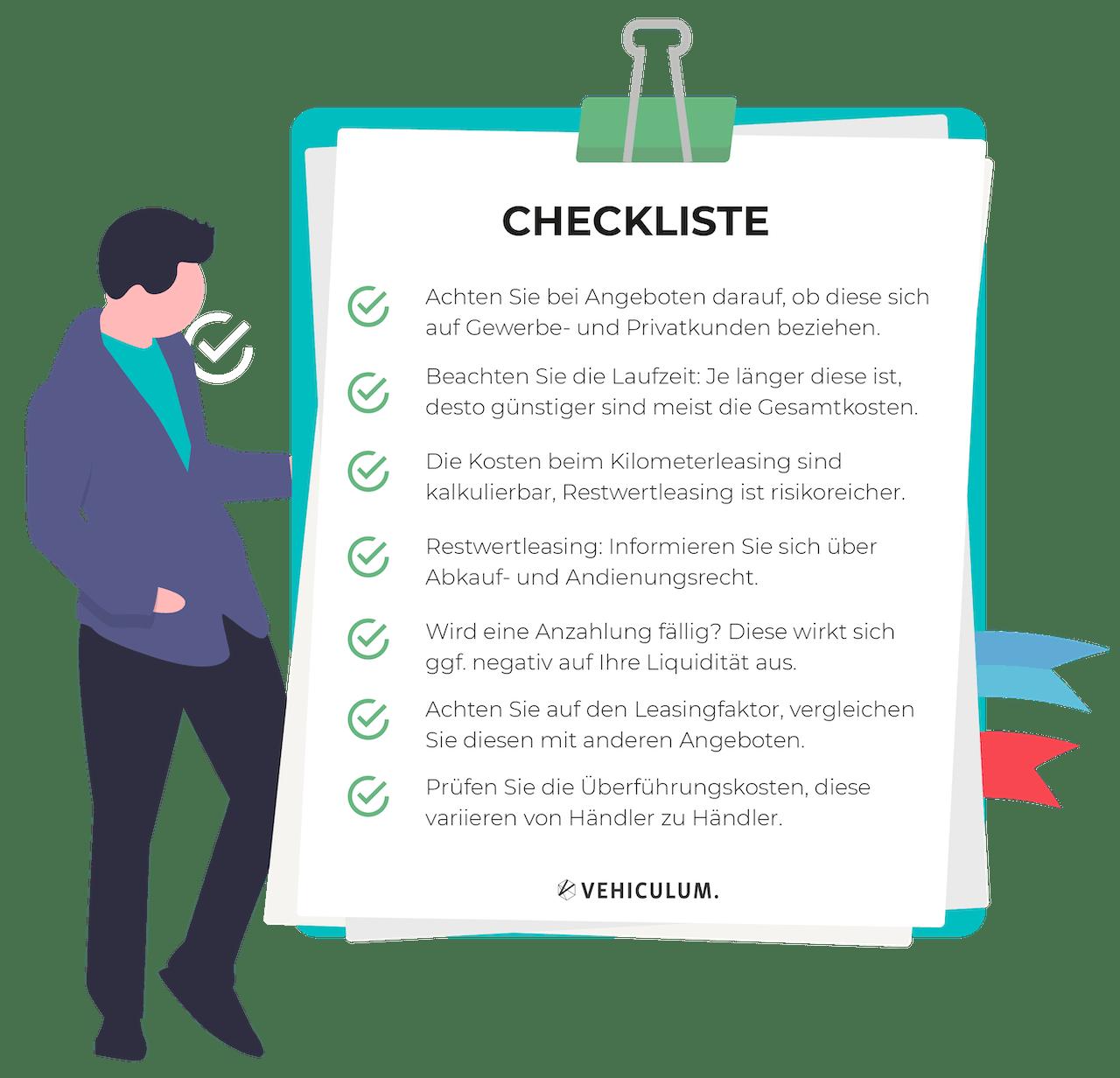 Checkliste: wie man das beste Leasing Angebot findet