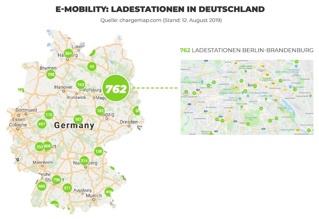 Ladestationen Deutschland auf einer Deutschland Karte abgebildet