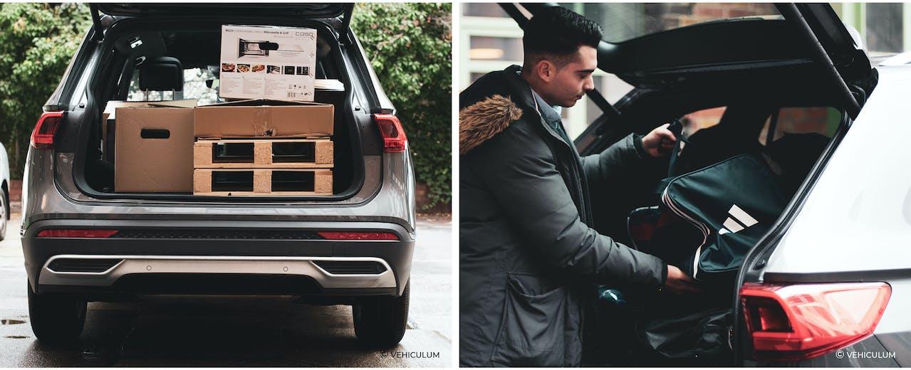 SEAT Tarraco Stauraum-Test, beladen von jungem Fahrer, beladen mit Sporttaschen und Umzugskartons