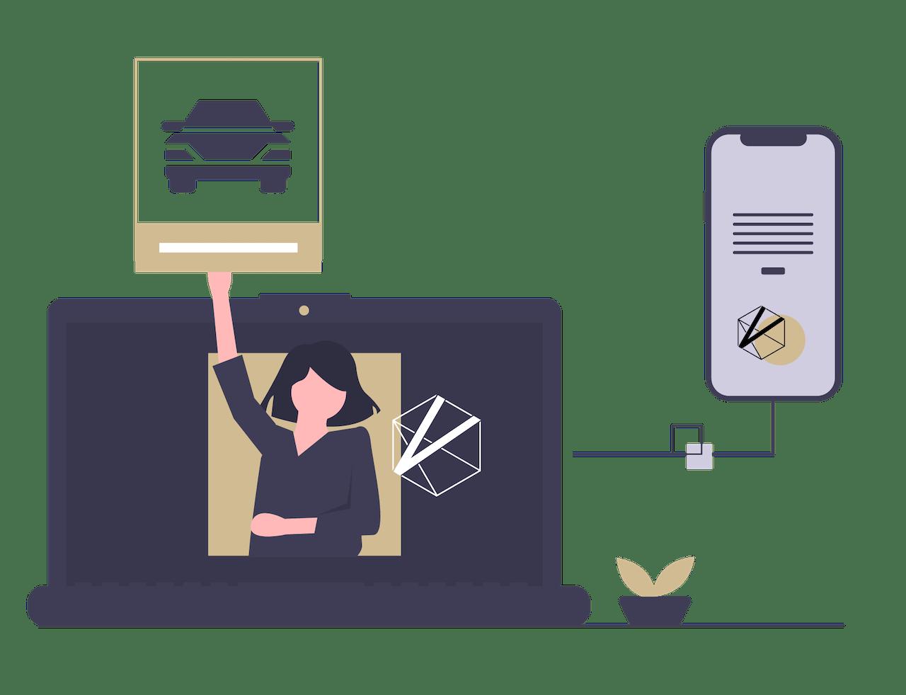 Visuelle Darstellung von online Leasing bei VEHICULUM auf Laptop und Smartphone, einfach online leasen