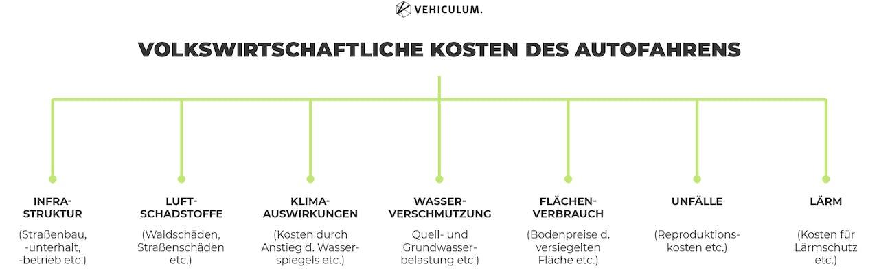Volkswirtschaftliche Kosten des Autofahrens grafische Darstellung Wasserverschmutzung Lärmbelästigung Unfälle etc.