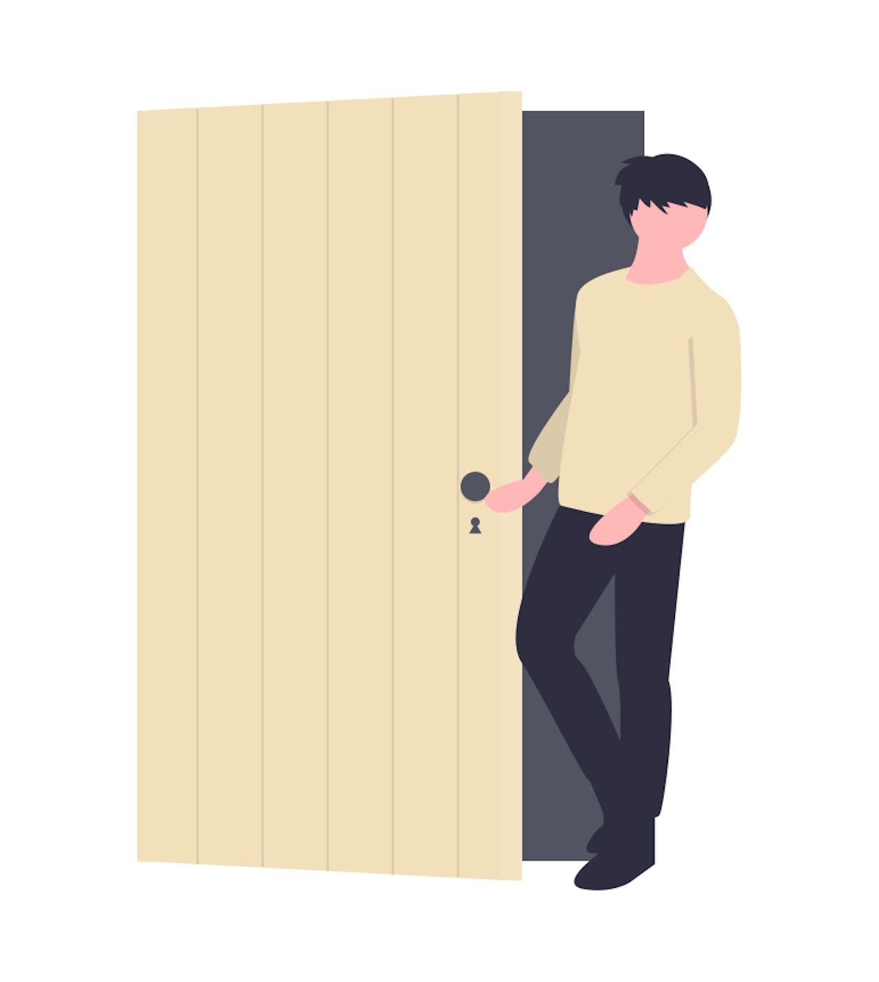 Animierter Mensch öffnet eine Tür