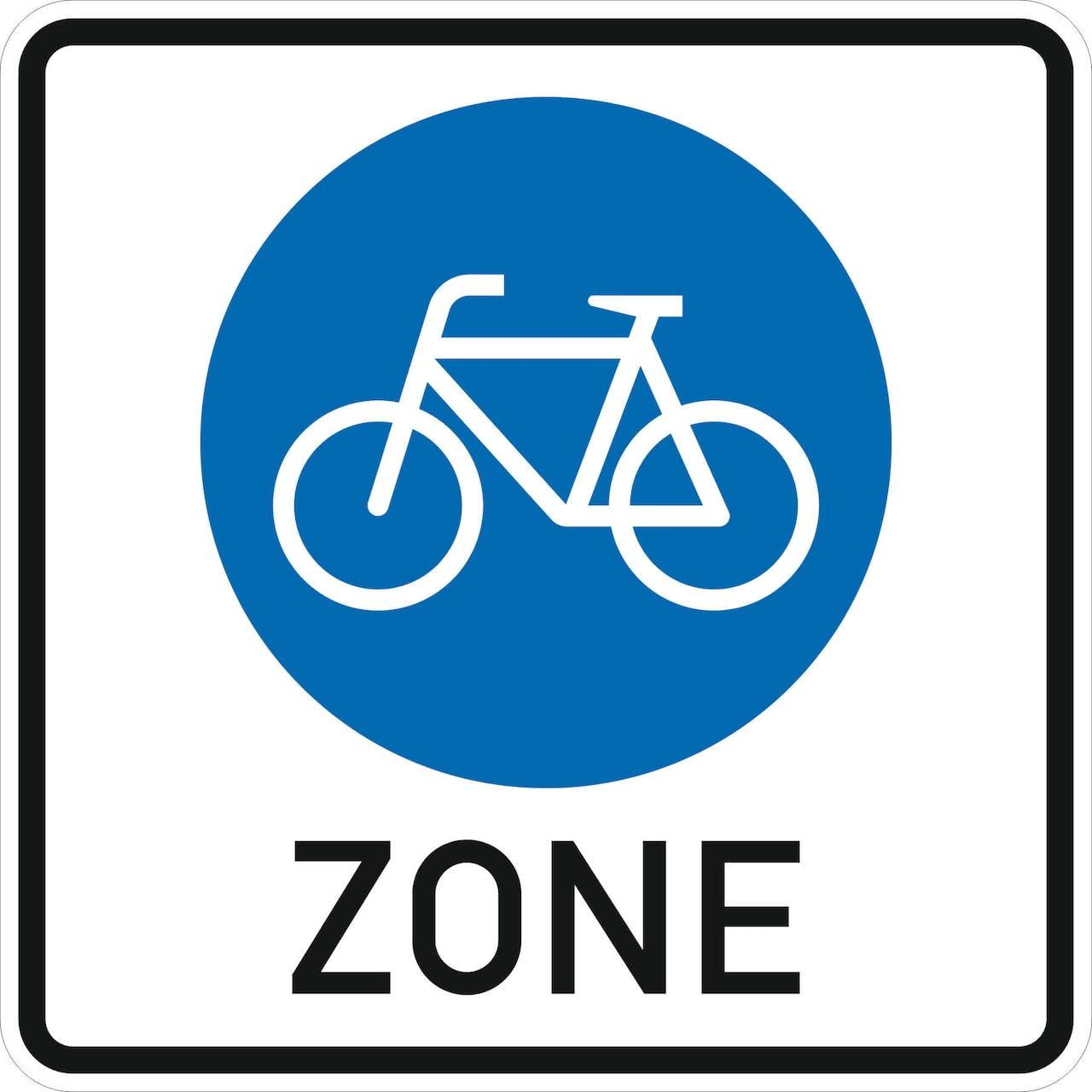 Neues Verkehrsschild Fahrradzone