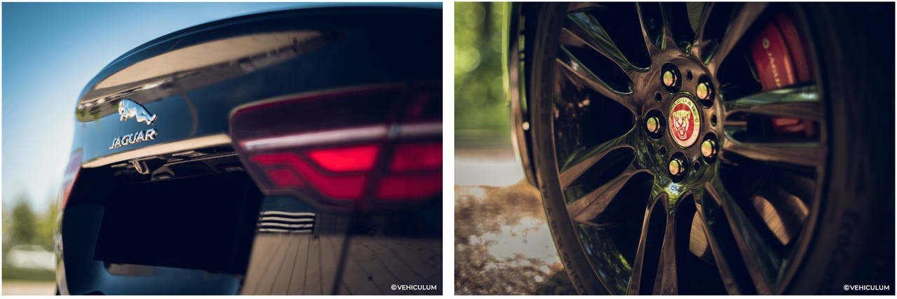 Jaguar XE Heckklappe und Felge in schwarz