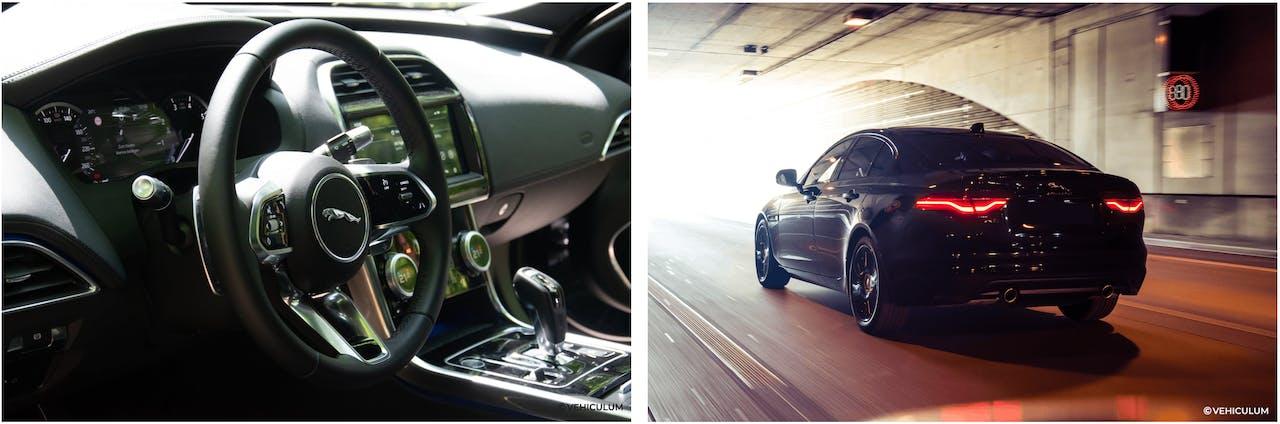 Jaguar XE Innenraum und Fahraufnahme in einem Tunnel