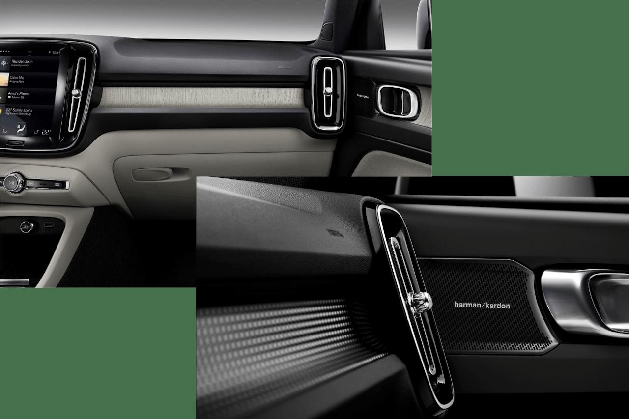 Optionale Sonderausstattung im Innenraum des Volvo XC40. DRIFT WOOD Echtholzeinlagen (links) bieten Premiumklasse-Luxus in Sachen Design und das Harman Kardon Soundsystem sorgt für Hi-Fi-Sound der Extraklasse.