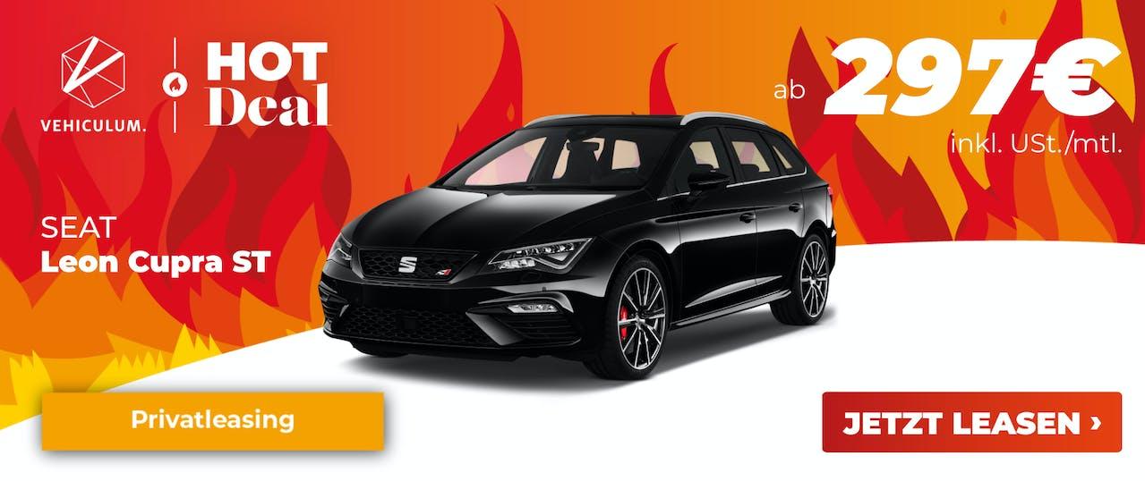 Banner: Seat Leon Cupra ST im Leasing Angebot bei VEHICULUM