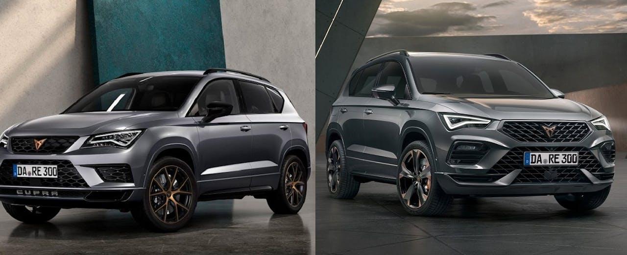 Links: Der CUPRA Ateca aus 2018. Rechts: der neue CUPRA Ateca mit verändertem Design. Den Ateca gibt es im VEHICULUM Leasing ohne Anzahlung und von 12 bis 48 Monaten Laufzeit