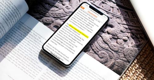 Handelsblatt Website auf einem Smartphone