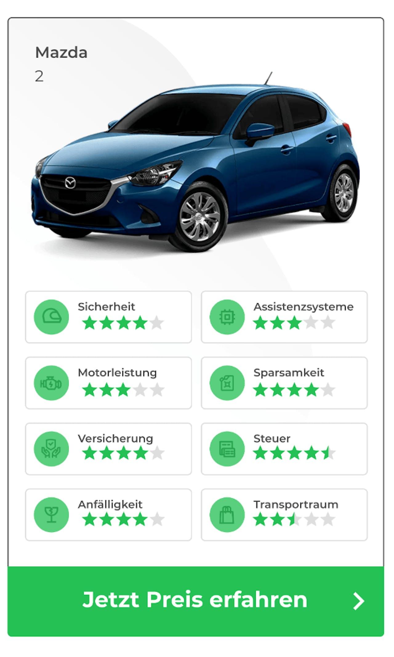 Mazda 2 im VEHICULUM Vergleich des besten Anfängerautos. Jetzt zum Resultat im Check
