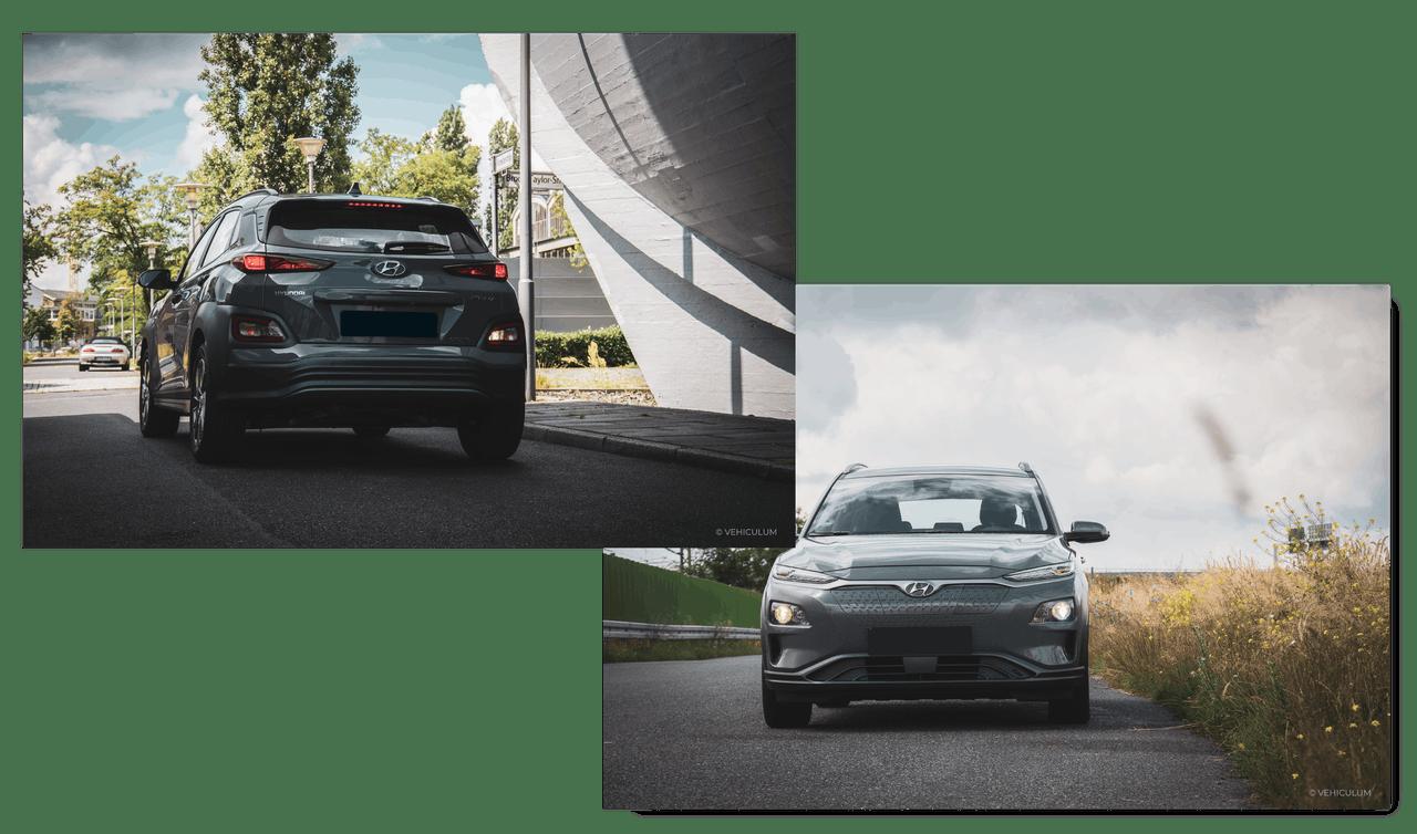 Hyundai Kona Elektro Front- und Heckansicht